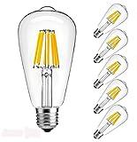 Vintage Edison LED Bulb, Dimmable 4W ST64 Antique Bulb, 60W Incandescent Equivalent, 400 Lumens, E26 Base, 2700k-3000K, Soft Warm White Filament Light for Decorate Home, Restaurant, Office, Pack of 6
