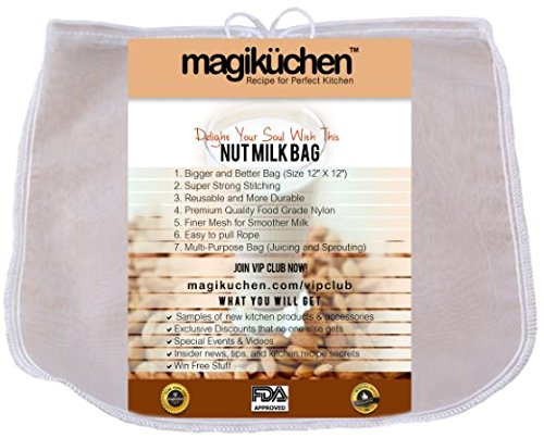 Magikuchen All-Purpose Commercial Grade Nut Milk Bag - Extra Large 12x12