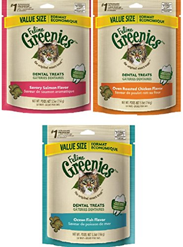 Feline Greenies 5.5oz Variety Pack of 6 - 33 Ounce Total