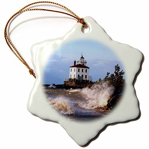 Fairport Harbor Lighthouse (Gloria Yerkes Sandy Mertens Ohio - Fairport Harbor Lighthouse Looking Over Lake Erie - 3 inch Snowflake Porcelain Ornament)