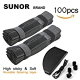 SUNOR 691608579830 100 Pcs 7 Inch Cable Ties Hook and Loop Straps for Organizer Fastening (Black)