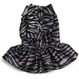 Zack & Zoey Polyester Platinum Print Zebra Dog Dress, Small, Black
