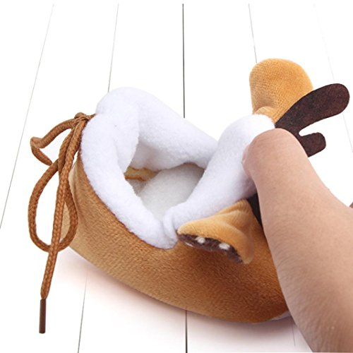 Igemy 1Paar Christmas Neugeboren Säugling Baby Jungen Mädchen Krippe Schuhe Soft Sole Anti-Rutsch Turnschuhe Khaki