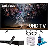 Samsung UN55RU7300 55' RU7300 HDR 4K UHD Smart Curved LED TV (2019 Model) with Home Theater Surround Sound 31' Soundbar Bundle Includes Screen Cleaner + 6-Outlet Surge Adapter + 2X HDMI Cable Black