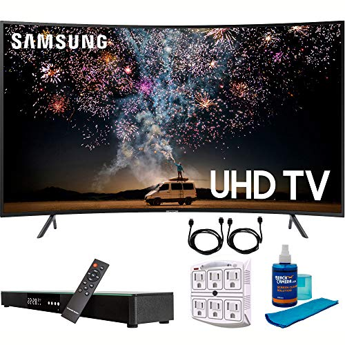 "Samsung UN55RU7300 55"" RU7300 HDR 4K UHD Smart Curved LED TV (2019 Model) with Home Theater Surround Sound 31"" Soundbar Bundle Includes Screen Cleaner + 6-Outlet Surge Adapter + 2X HDMI Cable Black"