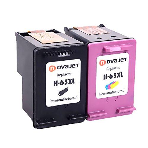 Novajet Remanufactured Ink Cartridge Replacement 63XL 63 XL (Black Tri-Color, Combo Pack) High Yield for Envy 4520 4512 DeskJet 1112 2130 2132 3630 3633 3636 OfficeJet 3830 3831 4650 4655 Printer