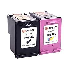 Novajet Remanufactured Ink Cartridge Replacement for HP 63 63XL (1 Black , 1 Tri-Color) F6U64AN High Yield for DeskJet 1112 2130 2132 3630 3633 3636 ENVY 4520 4516 OfficeJet 3830 3831 4650 4655