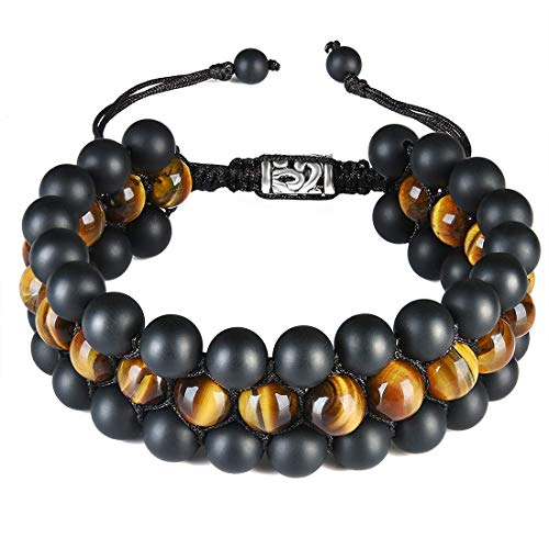 Cat Eye Jewels Mens Beaded Bracelets 8mm Natural Healing Stones Tiger Eye Onyx Beads Bracelet Triple Layered Adjustable Macrame H004