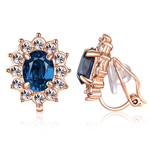 Crystal Clip On Earrings for Women,18K Gold Plated Vintage Circular Halo Non Pierced Earring Jewelry (Gold Blue) Circular Cubic Zirconia Earrings