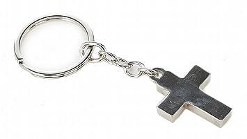 Llavero Cruz, metal, plata en caja de regalo: Amazon.es: Hogar