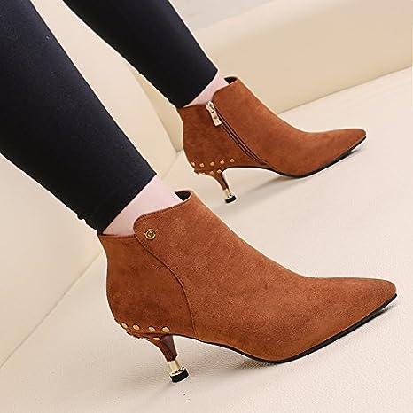 SDKIR europeo e americano high heeled corti stivali camoscio