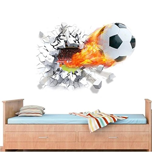Radiant firing football through wall stickers kids room decoration 1473. home decals soccer funs 3d mural art sport game pvc poster 5.0 -
