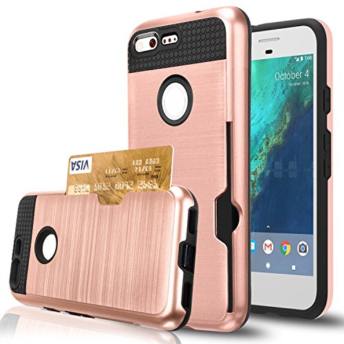 Google Pixel Case,Berry Accessory Dual Layer Hard Silicone Rubber Hybrid Defender Armor Card Slot Holder [Slim Fit] Full Body Protective Cover for Google Pixel - Rose Gold