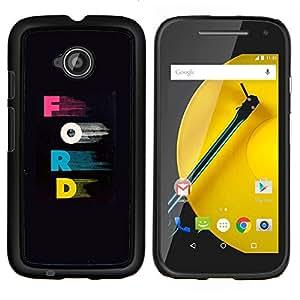 "Motorola Moto E2 / E(2nd gen), JackGot - Impreso colorido protector duro espalda Funda piel de Shell (Cartas Rosa Azul Car Company Negro"")"