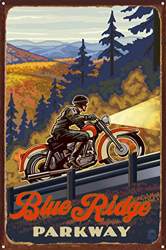 Blue Ridge Parkway North Carolina Motorcycle Climb Rustic Metal Art Print by Paul A. Lanquist (12