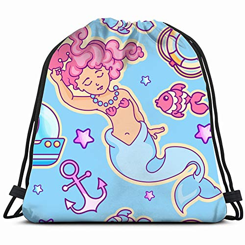 Princess Anchor - princess mermaid ship life anchor Drawstring Backpack Gym Sack Lightweight Bag Water Resistant Gym Backpack for Women&Men for Sports,Travelling,Hiking,Camping,Shopping Yoga