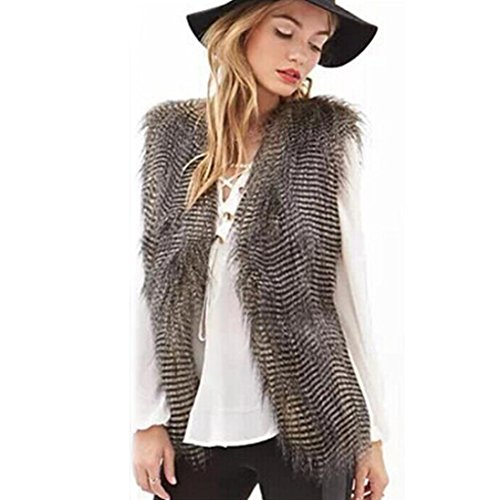 Jacket HOMEBABY Womens Long Waistcoat Hair Sleeveless Brown Fur Coat Faux qc6vHt6I