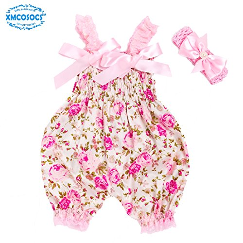 1st Christmas Infant Creeper - Xmcosocs Baby Girls Floral Bodysuit - Pink Lace Satin Romper Bloomers with Headband, Baby Shower Clothes Fathers Day Outfit Infant Toddlers Birthday Gifts