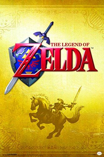 Pyramid America The Legend of Zelda Gold Nintendo Fantasy Video Game Series Link Epona Sword Shield Poster 12x18 inch