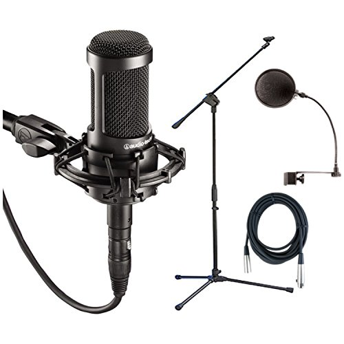 Audio Technica AT2035 Condenser Mic + Pop Filter + Mic Stand + XLR Cable by Audio-Technica