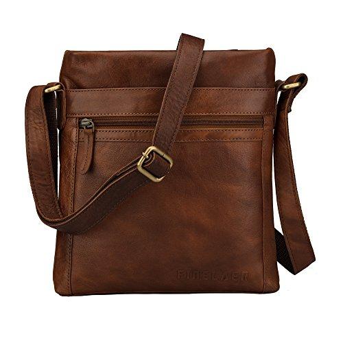 Finelaer Leather Crossbody Bag Purse Shoulder Strap Tote Bag Bgs for Women Brown by FINELAER