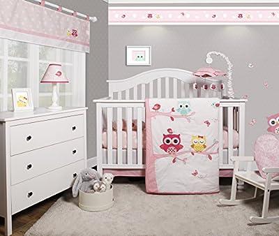 GEENNY OptimaBaby Enchanted Owls Family 6 Piece Baby Girl Nursery Crib Bedding Set