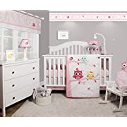 GEENNY OptimaBaby Enchanted Owls Family 6 Piece Baby Girl Nursery Crib Bedding Set