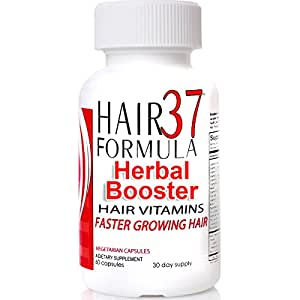 Hair Formula 37 Herbal Booster Faster Hair Growth Hair Supplement 60 Vegetarian Capsules 30 Day Supply