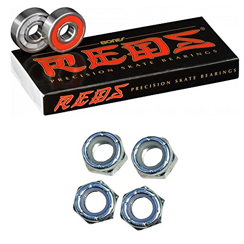 Bones Reds Bearings for [Skateboards, Longboards, Scooters, Spinners] (1 Pack of Bones Reds Bearings + 4 CCS Axle Nuts)
