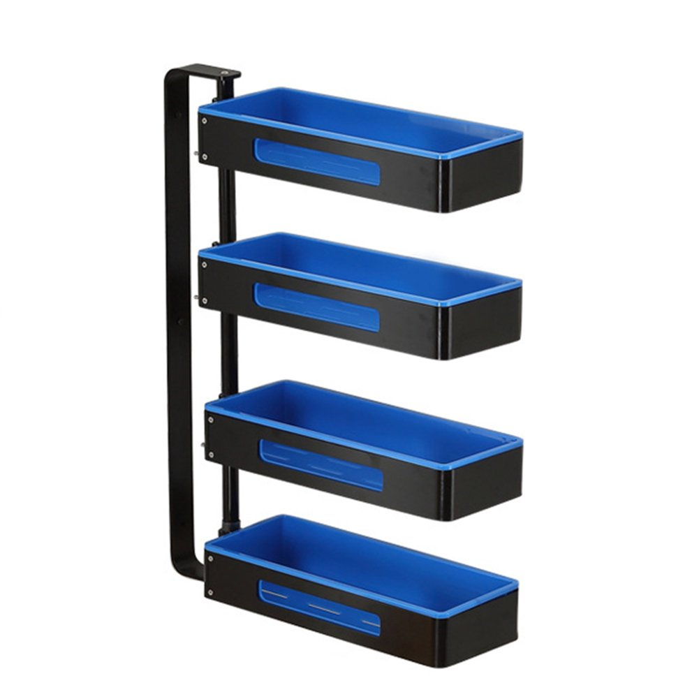 Yxsd 2 3 4 Tier Kitchen Storage Rack Spice Cooker Shelf Wall Mounted Corner Frame Bathroom 180° Rotation Adjustable Multifunction, Space Aluminum, Free Punching, Blue (Size : 4 Layers)