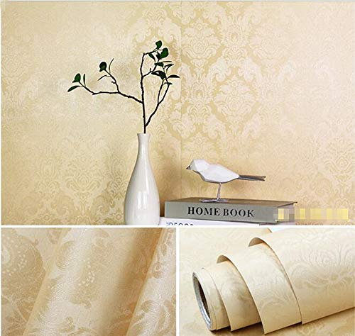 Birwall 48.4 Square Feet BD01 Beige Damasks Texture Peel and Stick Wallpaper Décor Self-Adhesive Prepasted Wallpaper ()