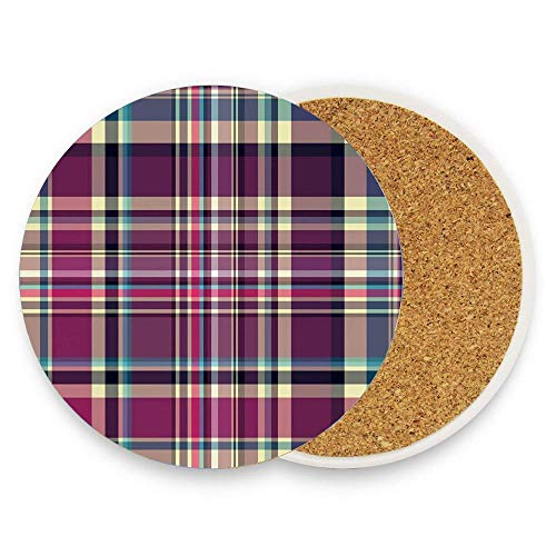 Asefcnxkjii Vintage Scotland Pattern in Purple Tones Abstract Retro Traditional Tile Round Ceramic Coasters 1 Piece Circle Cup Coasters for Home Kitchen Office Desk