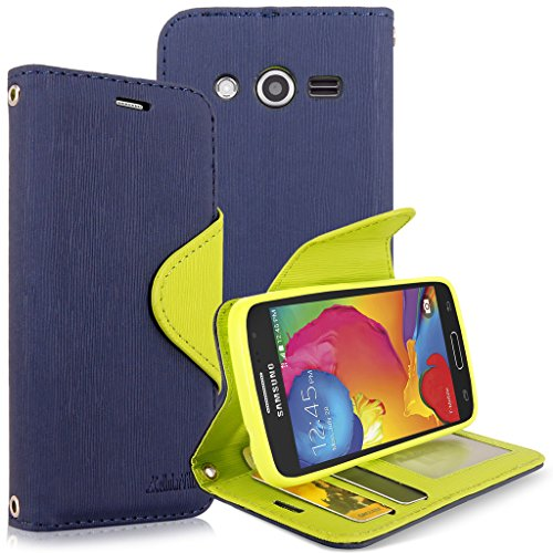 Galaxy Avant (G386T) Case, Cellularvilla [Stand Feature] [Slim Fit] Wallet Case, Premium Pu Leather Case Flip Cover [Card Slots] For Samsung Galaxy Avant G386T (T-Mobile/ Metro PCS) (Navy Blue Green)