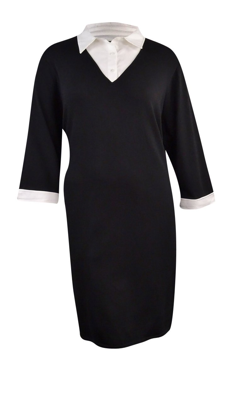 Ralph Lauren Women's Layered Look Sweater Dress (2X, Black/White)