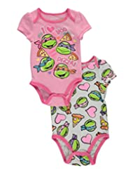 "TMNT Baby Girls' ""More than Pizza"" 2-Pack Bodysuits"