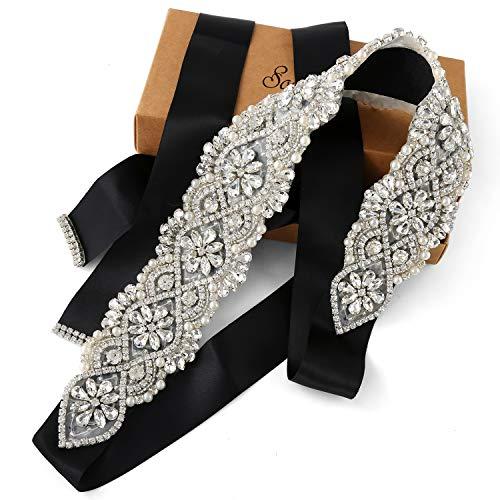 SoarDream black bridal sash Wedding Dress Sash Belt bridal bridesmaid dress sash