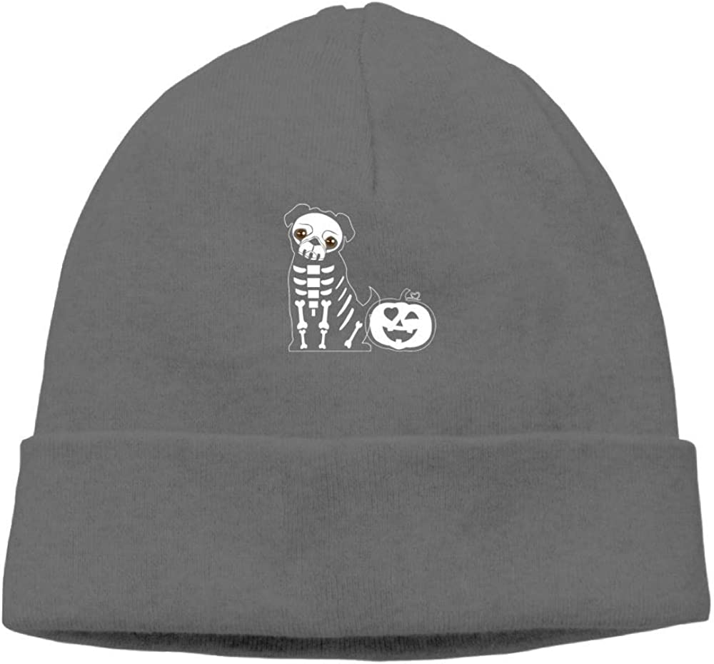 Pumpkin Skeleton Pug Beanies Knit Hat Ski Cap Men