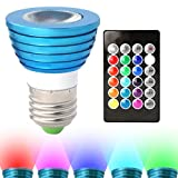 RGB Multicolor LED Bulb - 3 Watt MR16, E26 Base, Remote With 16 Colors and 8 Functions - For Bars, Restaurants, Stage Productions, Media Rooms and More