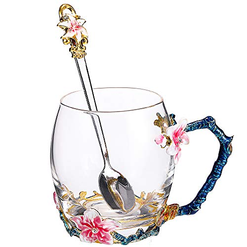 SEMAXE Handmade Glass Cup with Spoon Set and Cloisonne Handle,can be used as Teacup, Coffee Mug, Drinking Cup and Mother's Day, Christmas, Wedding Anniversary, Birthday Gifts(Apricot flower,Pink) (Drinking Hot Glasses Pink)