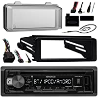 Kenwood KDCBT21 Bluetooth Radio USB AUX CD Player Receiver W/ Cover - Bundle With Install Dash Kit + Handle Bar Control + Enrock Antenna for 98 2013 Harley Touring Flht Flhx Flhtc Motorcycle Bike