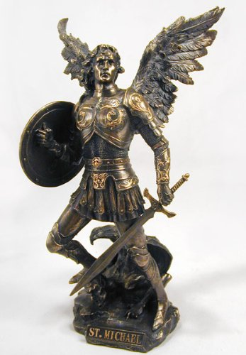 Archangel Saint Michael Statue Real Bronze Powder Cast Sculpture 12 -inch
