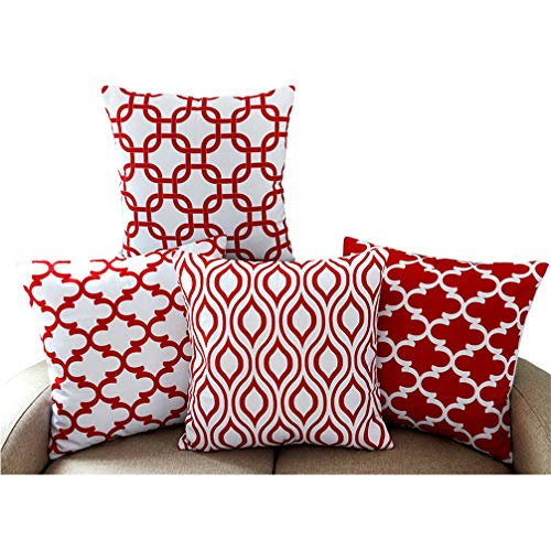 Red Chevron Pattern - Howarmer Canvas Cotton Square Throw Pillows of Red Arrow Pattern, Quatrefoil, Red Trellis and Red Chevron Accent, 18 by 18 Inch, 4-Pack