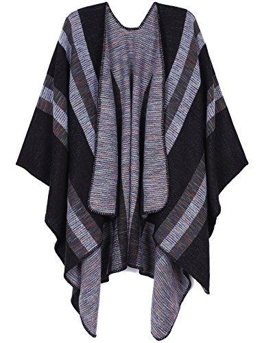 ADOMI Womens Winter Elegant Reversible Oversized Blanket Poncho Cape Shawl Cardigans