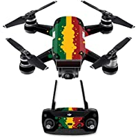 Skin for DJI Spark Mini Drone Combo - Rasta Flag| MightySkins Protective, Durable, and Unique Vinyl Decal wrap cover | Easy To Apply, Remove, and Change Styles | Made in the USA