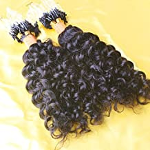LUFFY 100pcs 0.9g/Pcs Curly Micro Loops Extension 6A Grade Natural Color Peruvian Human Hair Micro Loop Ring Extensions 90g (24 Inch)