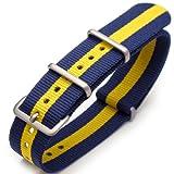 20mm G10 Nato James Bond Nylon Watch Strap Brushed Buckle - Blue & Yellow
