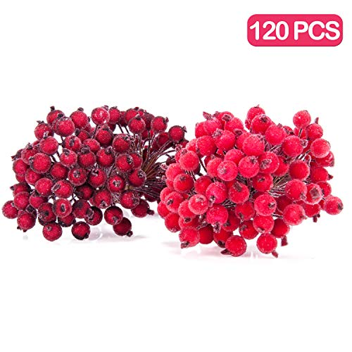 Meiliy 120 Wired Stems of Artificial Red Holly Berries 240 Heads Frost Berry Christmas Tree Decor Flower Wreath DIY Craft (Red &Dark Red) (Best Diy Christmas Wreaths)