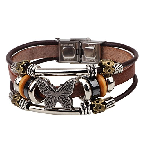 Diamondo Dangle Bracelets with Charms Women Men Multilayers Alloy Leather Cuff Wrap (A)
