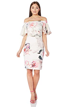 b60b751e4841 Roman Originals Women s Floral Print Bardot Dress - Ladies Off Shoulder  Summer Special Occasion Wedding Guest