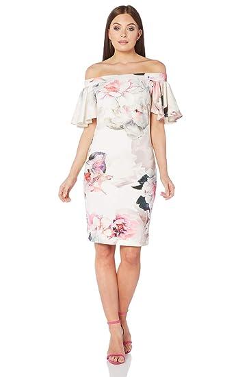 d7f6ddf4f288 Roman Originals Women Floral Print Bardot Neckline Frill Short Sleeve  Flower Bodycon Dress - Ladies Pretty Dresses  Amazon.co.uk  Clothing